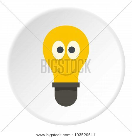 Yellow smiling light bulb with eyes icon in flat circle isolated vector illustration for web