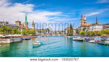 Zürich City Center With River Limmat In Summer, Switzerland