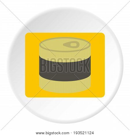 Closed tin can icon in flat circle isolated vector illustration for web