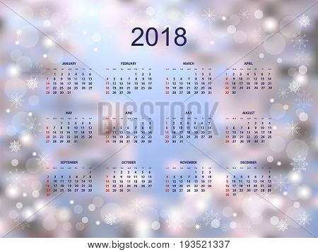 Business english calendar for wall on year 2018 on the festive colorful background with snowflakes. Week starts on Sunday. eps 10