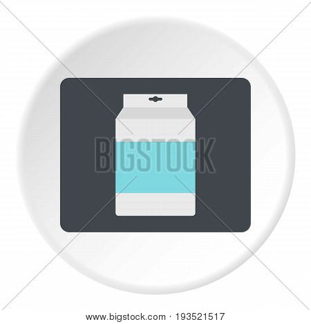 Box of milk icon in flat circle isolated vector illustration for web