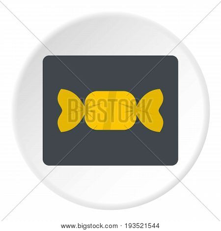 Candy in yellow wrap icon in flat circle isolated vector illustration for web
