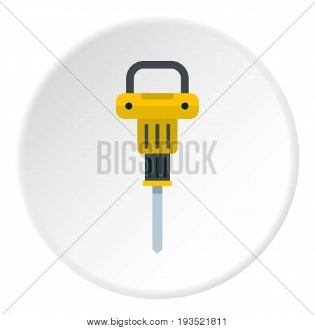 Pneumatic hammer icon in flat circle isolated vector illustration for web