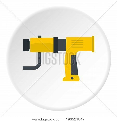 Yellow hand drill icon in flat circle isolated vector illustration for web