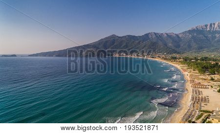 Psili Ammos beach Thassos island Greece. It is known as Golden beach. It is situated between Skala Panagia and Skala Potamia.