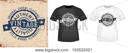T-shirt print design. Vintage stamp and t shirt mockup . Printing and badge applique label t-shirts jeans casual wear. Vector illustration.