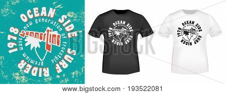 T-shirt print design. Surf rider stamp and t shirt mockup . Printing and badge applique label t-shirts jeans casual wear. Vector illustration.