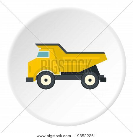 Yellow dump truck icon in flat circle isolated vector illustration for web