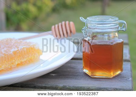 Delicious honey in jar and honeycomb close up image