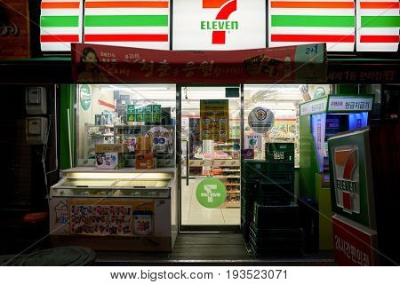 SEOUL, SOUTH KOREA - CIRCA MAY, 2017: 7-Eleven convenience store in Seoul. 7-Eleven is an international chain of convenience stores.