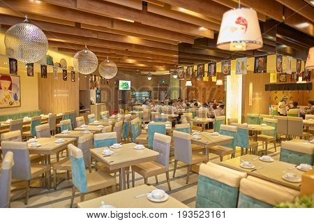 SHENZHEN, CHINA - FEBRUARY 04, 2015: inside a restaurant in ShenZhen. ShenZhen is regarded as one of the most successful Special Economic Zones.