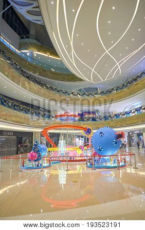 SHENZHEN, CHINA - DECEMBER 16, 2014: installation at shopping center in Longgang District of ShenZhen. ShenZhen is regarded as one of the most successful Special Economic Zones.