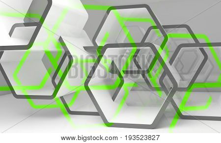 Abstract White Green Hexagonal Structures