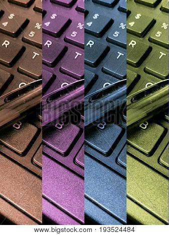 Four split color design of computer keyboard keys closeup.