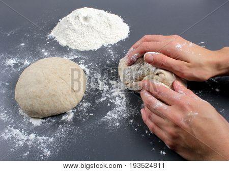 Kneading dough , close up image .