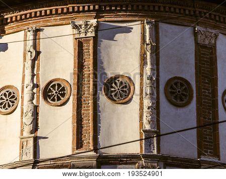 details of santa maria novella church in milan renaissance style