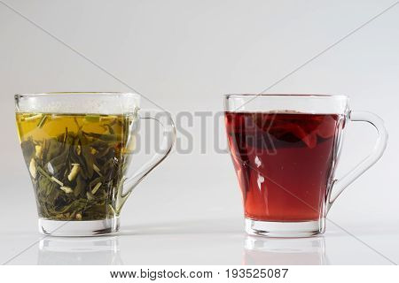 Tea In A Glass On A White Background. Green Or Fruit Tea.