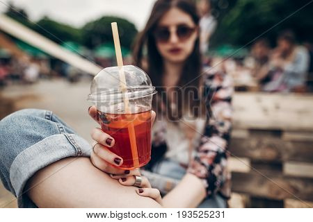 Strawberry Lemonade In Hand. Stylish Hipster Woman In Sunglasses With Red Lips Holding Lemonade. Coo
