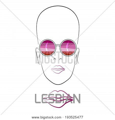 Stylized face with glasses using original colors for gay parade. Text Lesbian. Unconventional sexual orientation. Vector design