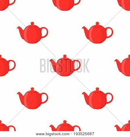 Vector illustration of red teapot, seamless pattern. Pottery fictile, clay teakettle. Made in cartoon flat style