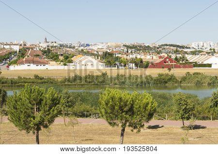 Jerez de la Frontera, Cadiz province, Andalucia, southern Spain, photo taken towards the lagoon of Torrox. Photo taken on: July 1, 2017