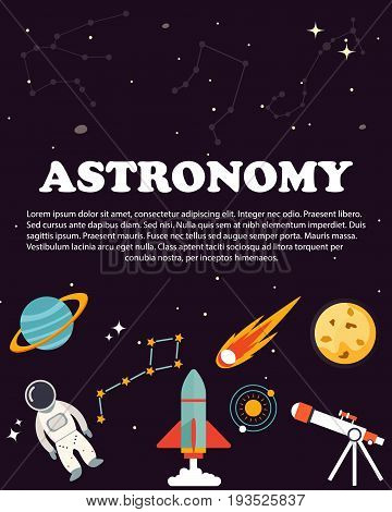 Astronomy study and science. Education and science layout concepts. Flat modern style.