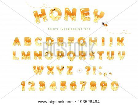 Honey font design. Glossy sweet ABC letters and numbers isolated on white. vector