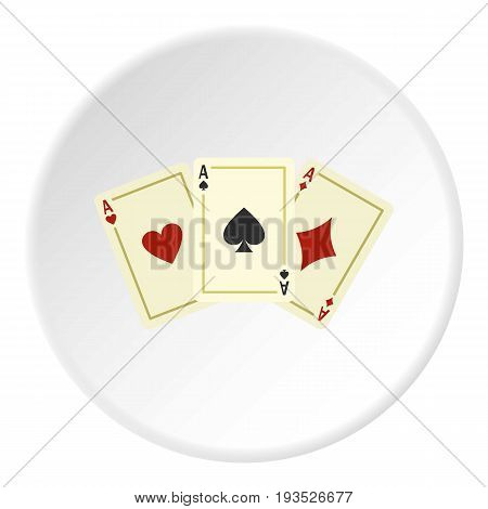 Aces playing cards icon in flat circle isolated vector illustration for web