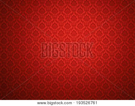 Red royal damask wallpaper with floral patterns