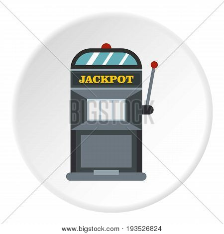 Slot machine icon in flat circle isolated vector illustration for web