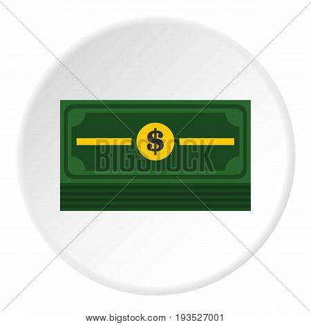 Stack of dollars icon in flat circle isolated vector illustration for web
