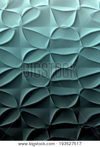 Abstract textured with convex drawing turquoise gradient background