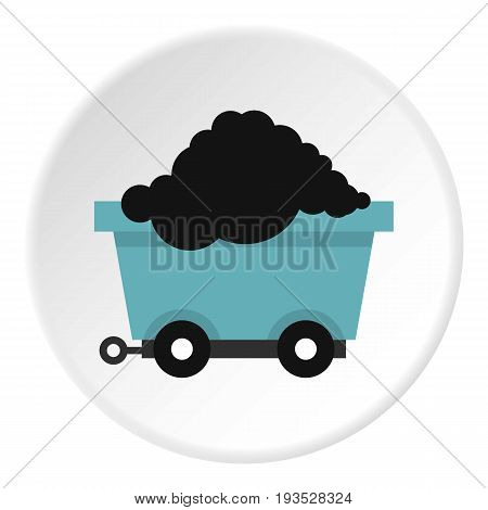 Cart on wheels with coal icon in flat circle isolated vector illustration for web
