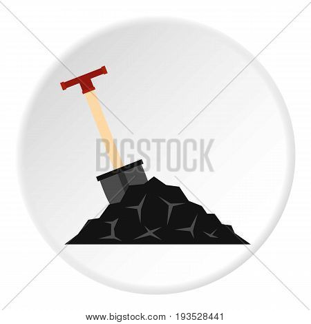 Shovel in coal icon in flat circle isolated vector illustration for web