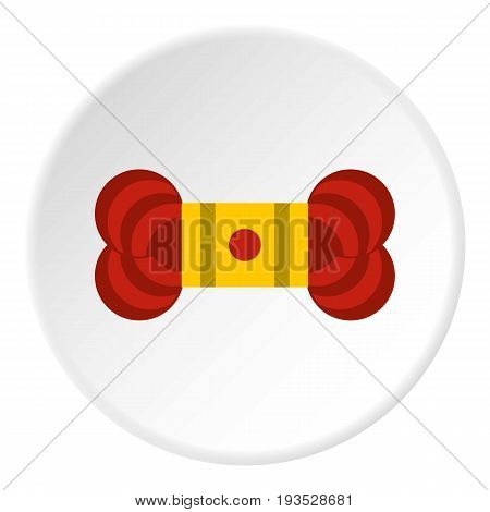 Skein of yarn icon in flat circle isolated vector illustration for web