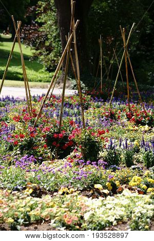 A colorful garden bed with various blossoms and wooden stakes joined together to form a tent.