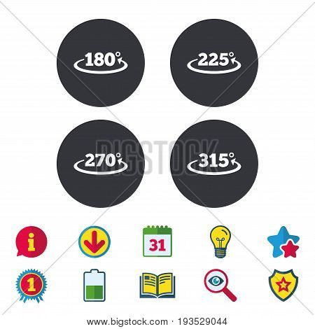 Angle 180-315 degrees icons. Geometry math signs symbols. Full complete rotation arrow. Calendar, Information and Download signs. Stars, Award and Book icons. Light bulb, Shield and Search. Vector