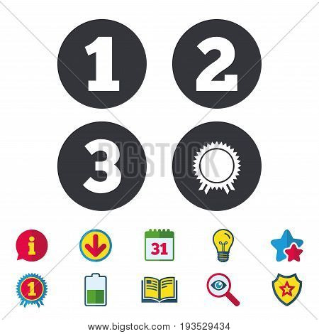 First, second and third place icons. Award medal sign symbol. Calendar, Information and Download signs. Stars, Award and Book icons. Light bulb, Shield and Search. Vector