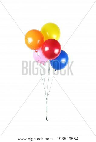 Colorful party balloons on white background .