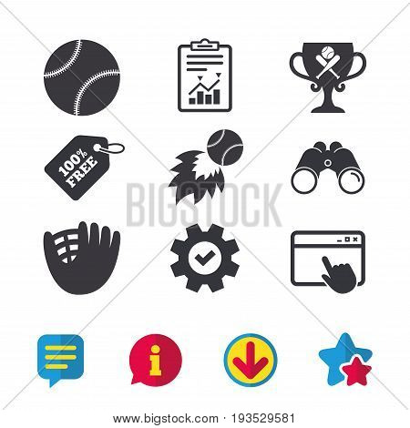 Baseball sport icons. Ball with glove and two crosswise bats signs. Fireball with award cup symbol. Browser window, Report and Service signs. Binoculars, Information and Download icons. Stars and Chat