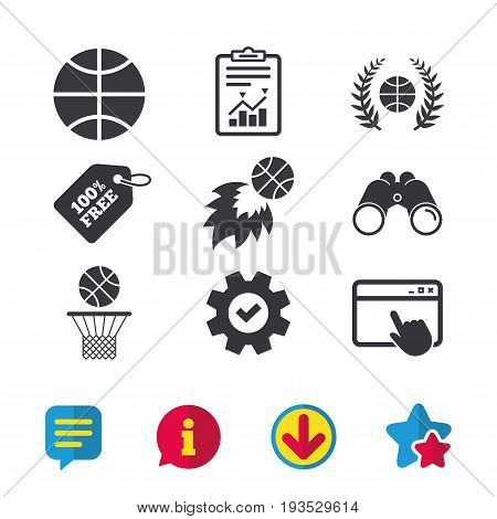 Basketball sport icons. Ball with basket and fireball signs. Laurel wreath symbol. Browser window, Report and Service signs. Binoculars, Information and Download icons. Stars and Chat. Vector