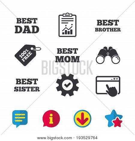 Best mom and dad, brother and sister icons. Award symbols. Browser window, Report and Service signs. Binoculars, Information and Download icons. Stars and Chat. Vector