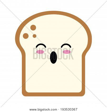 kawaii bread slice icon image vector illustration design