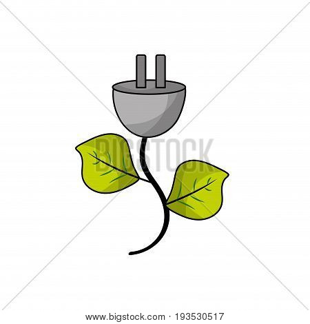 power cable with leaves to environment care vector illustration