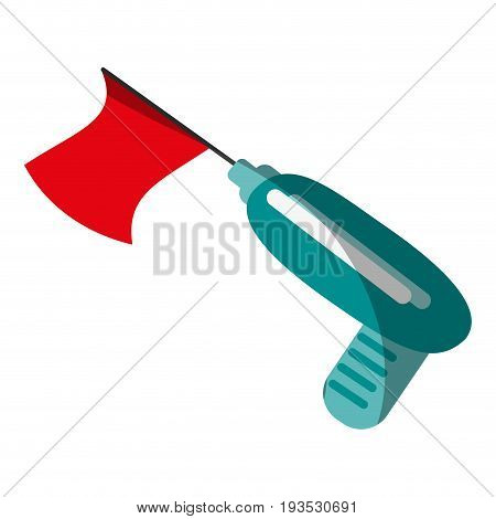 prank gun with flag funny toy icon image vector illustration design