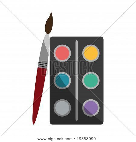 watercolor set with paint brush school supply icon image vector illustration design
