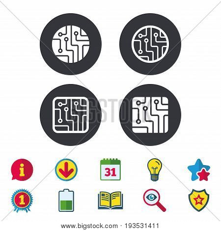 Circuit board icons. Technology scheme circles and squares sign symbols. Calendar, Information and Download signs. Stars, Award and Book icons. Light bulb, Shield and Search. Vector