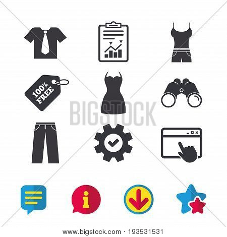 Clothes icons. T-shirt with business tie and pants signs. Women dress symbol. Browser window, Report and Service signs. Binoculars, Information and Download icons. Stars and Chat. Vector
