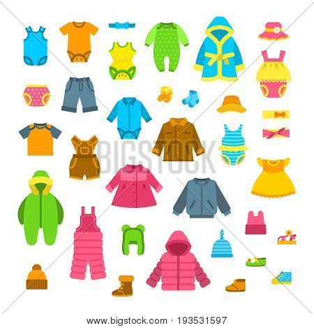 Baby clothes vector illustrations set. Newborn kid outfit flat icons. Little girl and boy clothing cartoon elements. Child fashion collection. Garments for all seasons. Apparel, underwear, hats, shoes poster