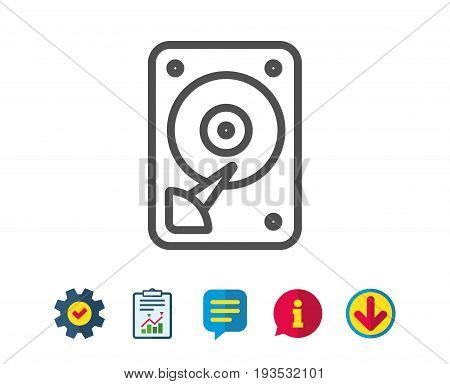 HDD icon. Hard disk storage sign. Hard drive memory symbol. Report, Service and Information line signs. Download, Speech bubble icons. Editable stroke. Vector